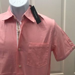 NEW wTag-Men's TAHARI Pink Button Shirt Sz S